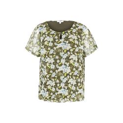TOM TAILOR Damen Gemustertes T-Shirt mit Mesh-Overlayer, grün, gemustert, Gr.XS