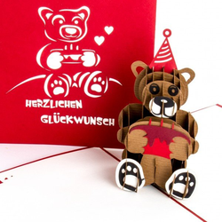 Colognecards Pop-Up Karte Teddybär mit Torte rot