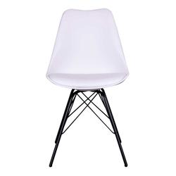 Esstisch Stühle in Weiß und Schwarz Metallgestell (2er Set)
