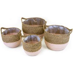 NOOR LIVING Aufbewahrungskorb (Set, 4 Stück), dekorative Aufbewahrung von verschiedenen Utensilien rosa