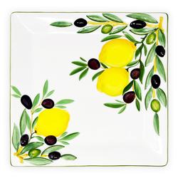 Lashuma Servierplatte Zitrone Olive, Keramik, Eckige Fleischplatte, Servierteller 27x27 cm