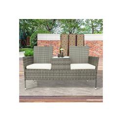 Masbekte Gartenbank, Polyrattan Gartensofa Balkonmöbel Gartenmöbe mit Tisch 2-Sitzer grau