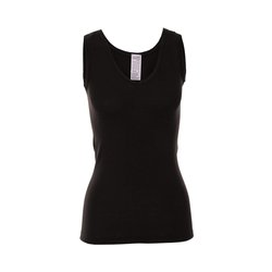 Living Crafts UNTERHEMD ; Damen-Unterhemd aus Bio-Wolle und Seide - black - 44-46