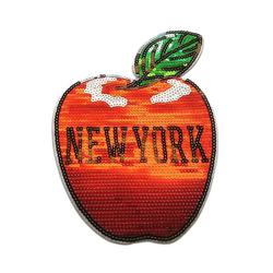 Catch the Patch Aufnäher, Kunststoff, XL New York big apple mit Pailletten - Aufnäher, Applikationen, Patches, Flicken, zum aufnähen, Größe: rot