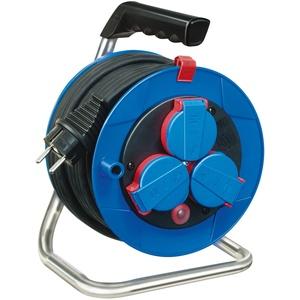 Brennenstuhl Garant Kompakt IP44 Kabeltrommel (15m, aus Spezialkunststoff, für den kurzfristigen Einsatz im Außenbereich, Made in Germany) blau