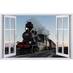 DesFoli Wandtattoo Eisenbahn Lok Lokomotive F0497 bunt 110 cm x 70 cm