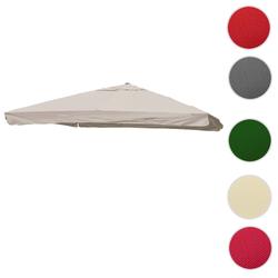 Bezug für Luxus-Ampelschirm HWC-A96 mit Flap, Sonnenschirmbezug Ersatzbezug, 3x3m (Ø4,24m) Polyester 3kg ~ creme-grau