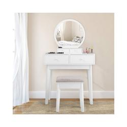 COSTWAY Schminktisch Frisierkommode Schminkkommode Kosmetiktisch weiß 40 cm x 130 cm x 75 cm