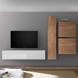 Fernseher Schrankwand in Nussbaum hell und Weiß Hochglanz hängend (4-teilig)