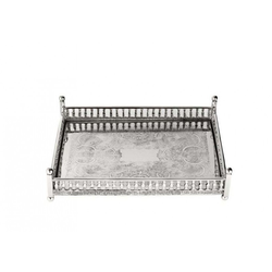 Casa Padrino Luxus Art Deco Messing Tablett Nickel Finish 32 x 22,5 x H. 8 cm - Luxus Hotel Tablett