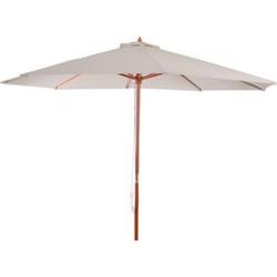Sonnenschirm Lissabon, Gartenschirm Marktschirm, Ø 3m Polyester/Holz 6kg ~ creme