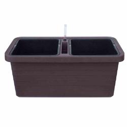 PLASTIA Bewässerungskasten Berberis Duo mit Rollen schokolade