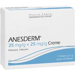 ANESDERM 25 mg/g + 25 mg/g Creme + 10 Pflaster 5X5 g