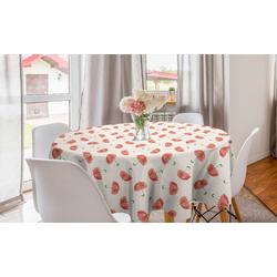 Abakuhaus Tischdecke Kreis Tischdecke Abdeckung für Esszimmer Küche Dekoration, Regenschirm Cartoon-Blumen-Sonnenschirme