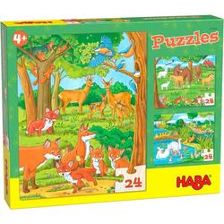 HABA 305468 - Tierfamilien Puzzles, 3 Puzzles,