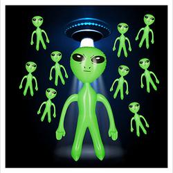 10 x Alien aufblasbar Marsmännchen Aufblasalien Wasserspielzeug Kindergeburtstag grün