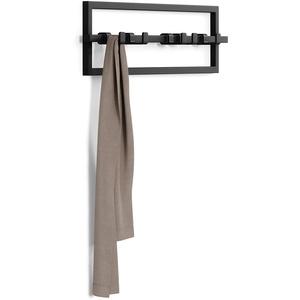 Umbra Cubiko Garderobenhaken, Wandgarderobe, Garderobenleiste mit beweglichen Haken, modernes Garderobenpaneel, Einheitsgröße, Schwarz