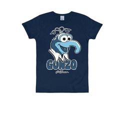 LOGOSHIRT T-Shirt mit auffälligem Retro-Druck Muppet Show Gonzo blau S