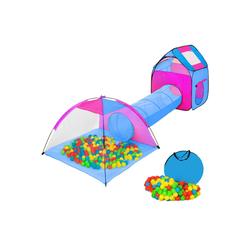 tectake Spielzelt Spielzelt mit Tunnel, 200 Bällen und Tasche blau