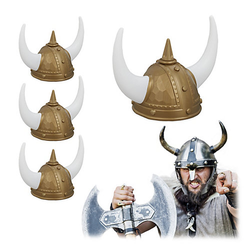 4 x Wikinger Helm Wikingerhut Set Wikinger Kopfbedeckung gold Gallier Helm