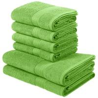 my home Handtuch Set Juna (Set, 6-tlg), mit feiner Strukturbordüre grün