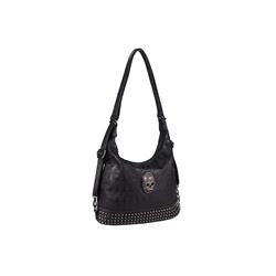 ITALYSHOP24 Rucksack Damen Totenkopf Shopper Tasche, 2in1 Schultertasche & Rucksack tragbar