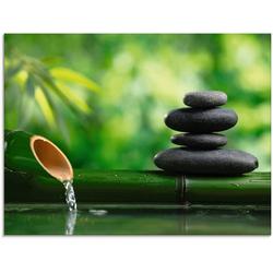 Artland Glasbild Bambusbrunnen und Zen-Stein, Zen (1 Stück) 60 cm x 45 cm