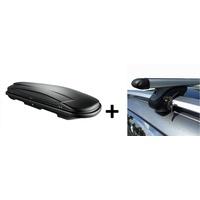 VDP Dachbox 400 Liter Relingträger Alu kompatibel mit Mazda 6 Kombi GY 03-07 abschliessbar
