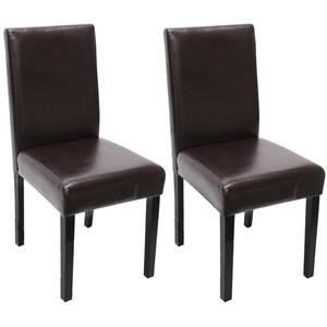 2x Esszimmerstuhl Stuhl Küchenstuhl Littau ~ Leder, braun, dunkle Beine