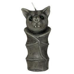 Horror-Shop Kerzenständer Fledermaus Kerze als Halloween Dekoration 15cm grau