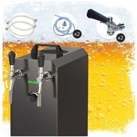 ich-zapfe Komplett Set - Zapfanlage STREAM 50K mit Luftpumpe Bierkoffer, Durchlaufkühler 2-leitig Trockenkühler, bis zu 55 Liter/h - BLACK EDITION, Zapfkopf:Dreikant,Zapfkopf 2:Köpi
