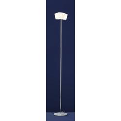 Qualitaetsware24 Stehlampe Deutsche Halogen Stehleuchte Chrom Opalglas Fußdimmer 2xG9 Halogen je 60W/230V