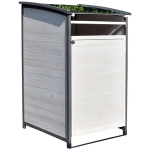 Mucola Mülltonnenbox Mülltonnenverkleidung Einzelbox Mülltonne 240L Gartenbox Anbaubox Holz Anbau Deckel Grau Braun Weiß Zinkdach Mülltonnenbox, mit Deckel grau