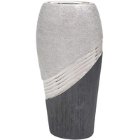 Dekohelden24 Edle Moderne Deko Designer Keramik Vase in Silber-grau massiv, Silbergrau, 31 cm