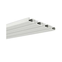 Gardinenschiene, Bestlivings, Fixmaß, Alu Gardinenschiene, Wendeschiene 3 und 4 Läufig, drehbar in weiß 9 cm x 90 cm