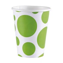 Amscan Einweggeschirr-Set Kiwi Grüne Pappbecher als Partygeschirr 8er Pack, Pappe weiß