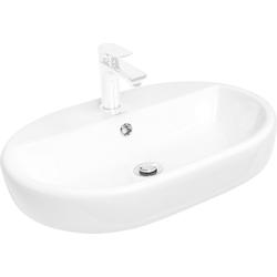CORNAT Kombi-Set: Aufsatz-Waschbecken Caspia oval, inkl. Einhebelmischer weiß/chrom