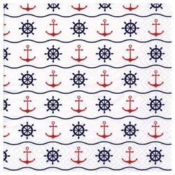 Linoows Papierserviette 20 Servietten Maritime Symbole mit Anker und Steue, Motiv Maritime Symbole