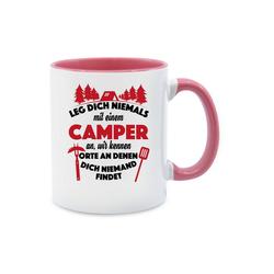 Shirtracer Tasse Leg dich niemals mit einem Camper an Tasse - Tasse zweifarbig - Tassen, Tasse mit Spruch