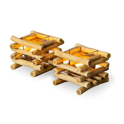 Levandeo® Teelichthalter, 2er Set Teelichthalter Treibholz 15 x 15 cm Holz Glaseinsatz Kerzenhalter