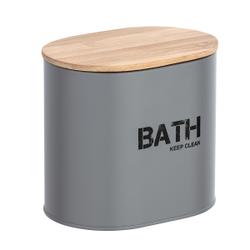 WENKO Gara Badbox, mit Deckel, Aufbewahrungsbox für das Badezimmer, Maße (B x H x T): 14,5 x 13,5 x 10,5 cm, grau