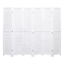 vidaXL Raumteiler vidaXL 6-tlg. Raumteiler Weiß 210×165 cm Holz