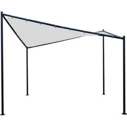 DEGAMO Sonnensegel Pavillon ORLANDO 3,5x3,5  Meter mit Plane PVC-bechichtet weiss