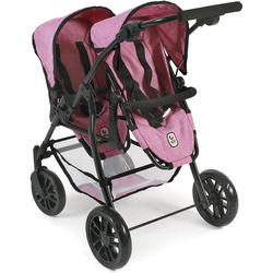 Bayer Chic 2000 Tandem Puppen-Buggy Twinny Jeans Pink