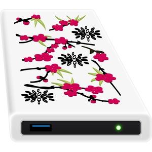 HipDisk LS104 Sakura 1TB HDD Externe Festplatte (6,4 cm (2,5 Zoll), USB 3.0) tragbare portable mit Silikon-Schutzhülle stoßfest wasserabweisend weiß-pink