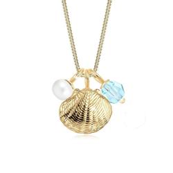 Elli Collierkettchen Muschel Perle Kristall Sterling Silber