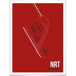 Wall-Art Poster Wandbild NRT Grundriss Tokyo, Grundriss (1 Stück), Poster, Wandbild, Bild, Wandposter 60 cm x 80 cm x 0,1 cm
