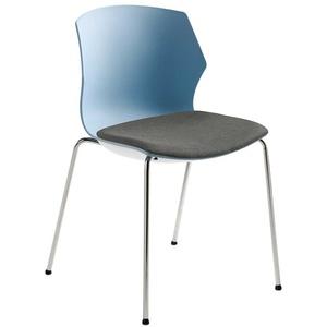 Küchenstuhl in Blaugrau Kunststoff