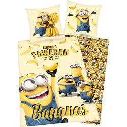 Minions Kinderbettwäsche Minions, mit Schriftzug gelb Bettwäsche 135x200 cm nach Größe Bettwäsche, Bettlaken und Betttücher