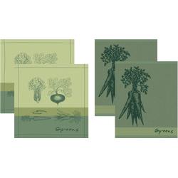 DDDDD Geschirrtuch Greens, (Set, 4-tlg., Combi-Set: bestehend aus 2x Küchentuch + 2x Geschirrtuch)